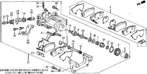 Honda online store : 1991 prelude rear brake caliper parts