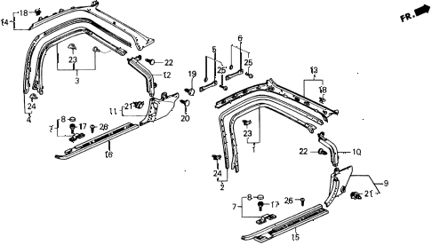 Honda online store : 1990 prelude door trim parts
