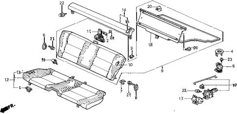 Honda online store : 1988 prelude rear seat parts