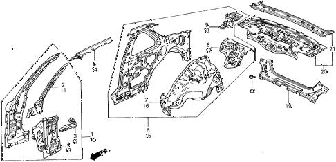 Honda online store : 1988 prelude inner panel parts
