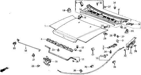 Honda online store : 1988 accord hood parts