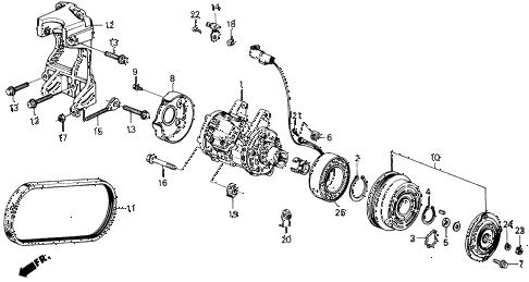 Honda online store : 1988 accord a/c compressor (denso) parts