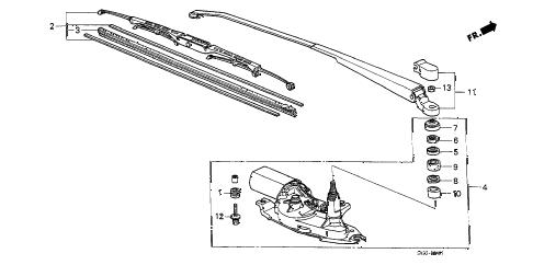 Honda online store : 1989 crx rear wiper parts