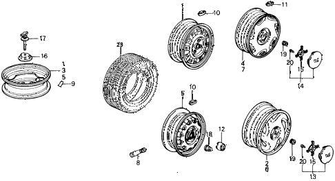 Honda online store : 1991 crx wheel disk parts