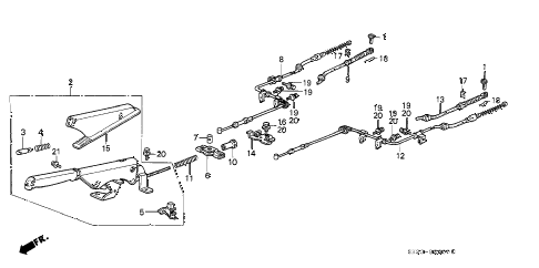 Honda online store : 1991 crx parking brake parts