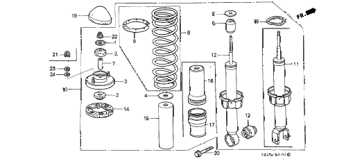 Honda online store : 1988 crx rear shock absorber parts