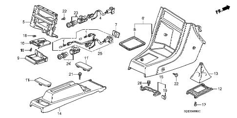 Honda online store : 1991 crx console parts