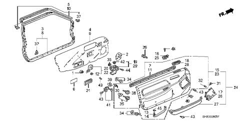 Honda online store : 1991 crx front door lining parts