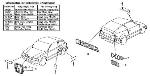 Honda online store : 1991 crx emblems parts