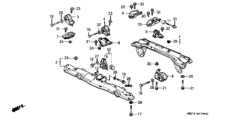 Honda online store : 1989 crx engine mount parts