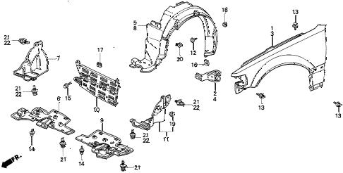 Honda online store : 1991 crx front fender parts