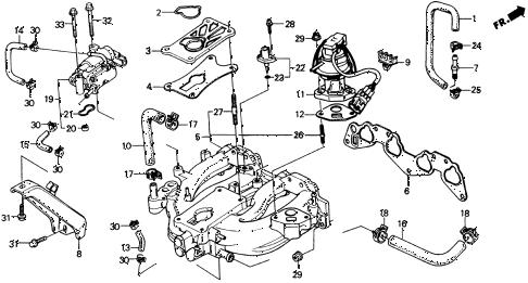 Honda online store : 1990 crx intake manifold (1) parts