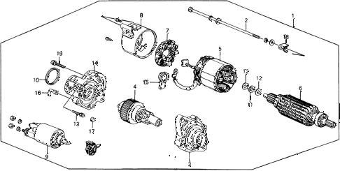 Honda online store : 1989 crx starter motor (mitsuba) parts