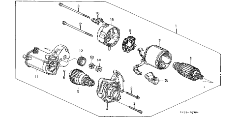 Honda online store : 1991 crx starter motor (denso) (3) parts
