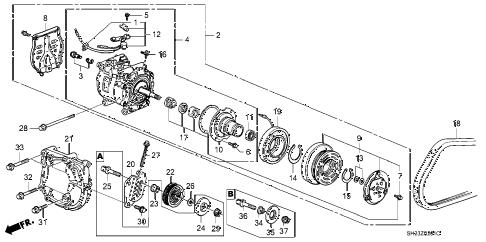 Honda online store : 1990 crx a/c compressor (sanden) parts