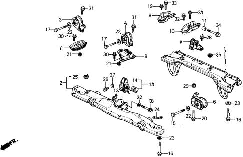 Honda online store : 1991 civic engine mount parts