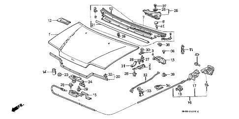 Honda online store : 1991 civic hood parts