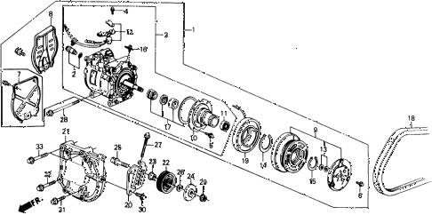 Honda online store : 1991 civic a/c compressor (sanden) parts