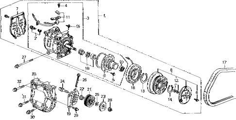Honda online store : 1988 civic a/c compressor (sanden) parts