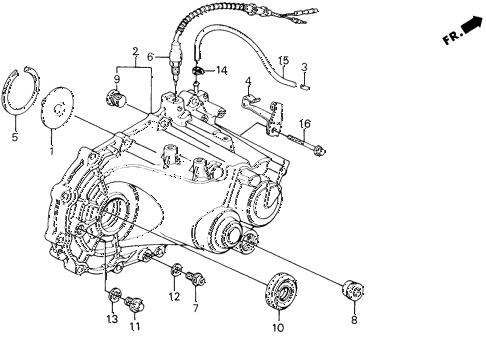 Honda online store : 1990 civic mt transmission housing parts