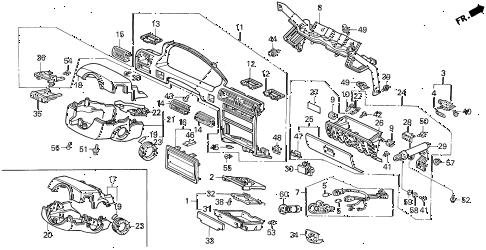 Honda online store : 1992 accord instrument garnish parts