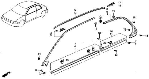 Honda online store : 1990 accord molding parts