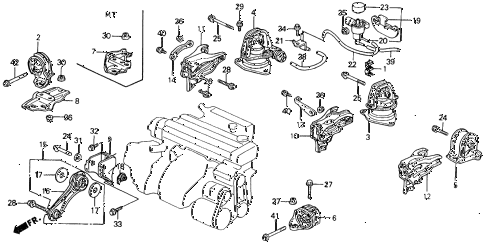 Honda online store : 1992 accord engine mount parts