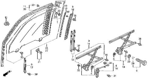 Honda online store : 1990 accord door glass parts