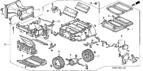 Honda online store : 1993 accord heater blower parts