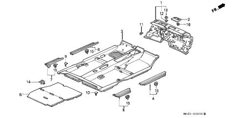 Honda online store : 1992 accord floor mat parts
