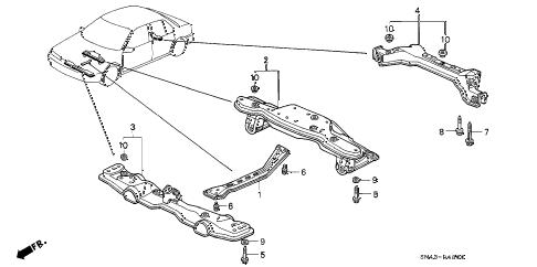 Honda online store : 1992 accord cross beam parts