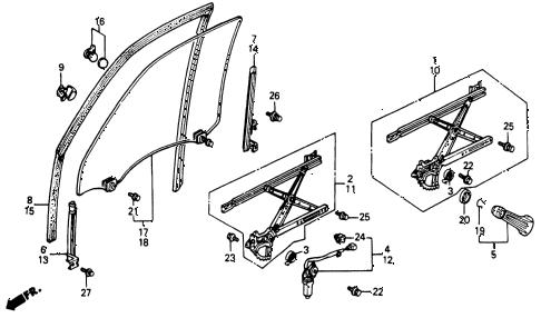 Honda online store : 1991 accord front door windows parts