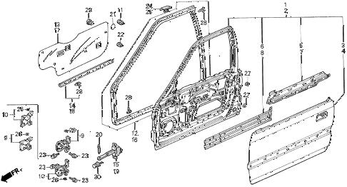 Honda online store : 1990 accord front door panels parts