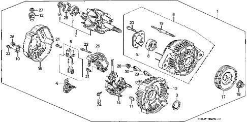 Honda online store : 1992 accord alternator (denso) parts