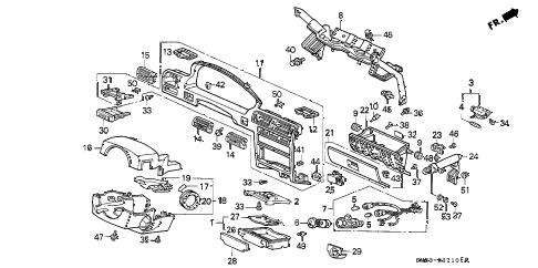 Honda online store : 1991 accord instrument garnish parts