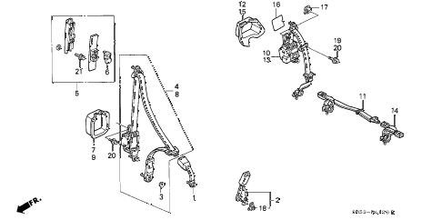 Honda online store : 1991 accord seat belt parts