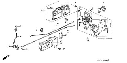 Honda online store : 1991 accord rear door locks parts