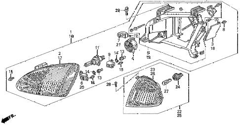 Honda online store : 1993 del headlight parts