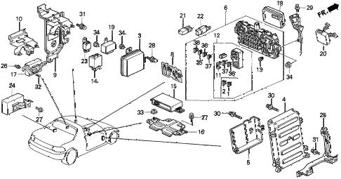 Honda online store : 1993 del control unit (cabin) parts