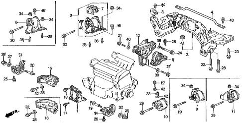 Honda online store : 1993 del engine mount (1) parts