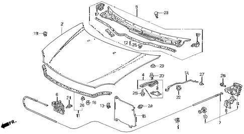 Honda online store : 1993 del hood parts