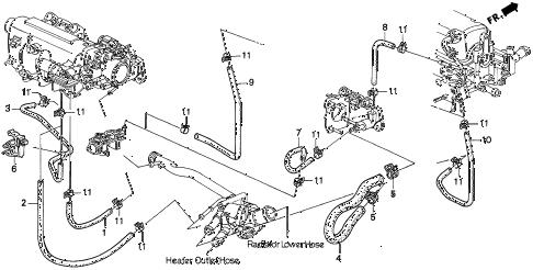 Honda online store : 1994 del water hose (s,si) (exc. '96