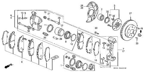 Honda online store : 1994 civic front brake (1) parts