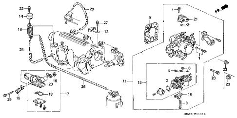 Honda online store : 1994 civic throttle body (2) parts