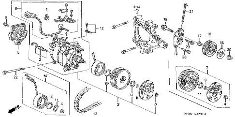 Honda online store : 1993 civic a/c compressor (sanden) (2