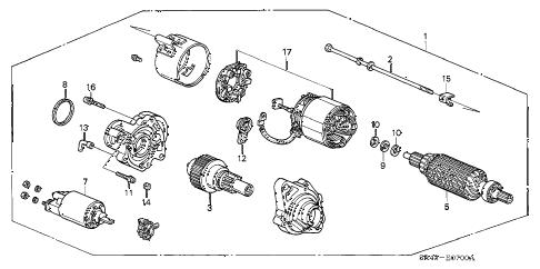 Honda online store : 1995 civic starter motor (mitsuba) (1