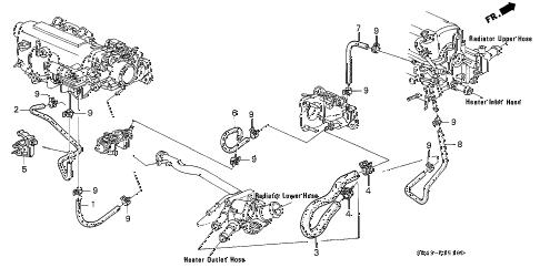 Honda online store : 1993 civic water hose (1) parts