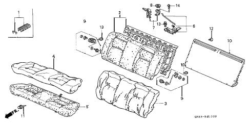 Honda online store : 1993 civic rear seat parts