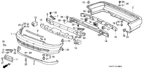 Honda online store : 1995 civic bumper parts