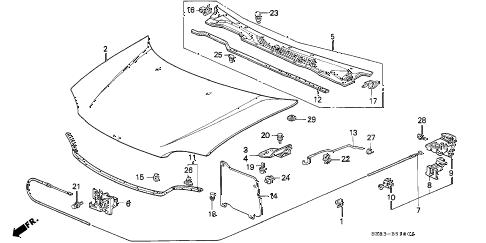 Honda online store : 1995 civic hood parts